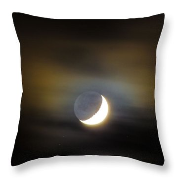 Throw Pillow featuring the photograph Quarter Moon by Judy Wolinsky