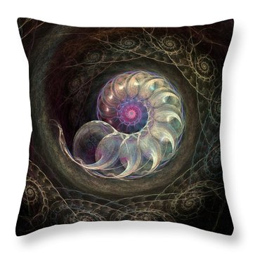 Queen Ammonite Throw Pillow by Kim Redd