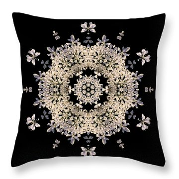 Queen Anne's Lace Flower Mandala Throw Pillow by David J Bookbinder
