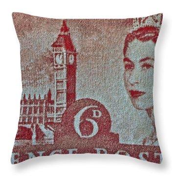 Queen Elizabeth II Big Ben Stamp Throw Pillow