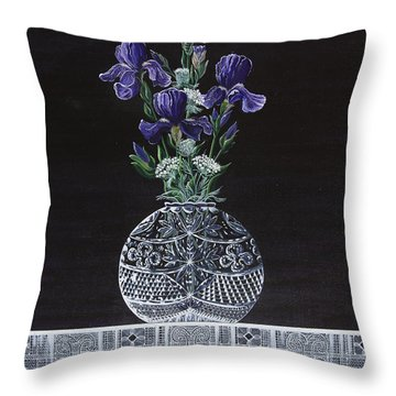 Queen Iris's Lace Throw Pillow by Jennifer Lake