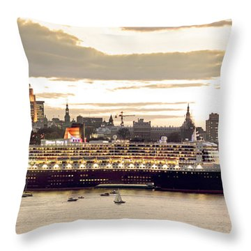 Queen Mary II Cruise Ship, Chateau Throw Pillow by Jean Desy