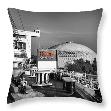 Queen Mary On Deck Throw Pillow by Mariola Bitner