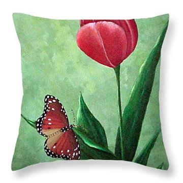 Queen Monarch And Red Tulip Throw Pillow