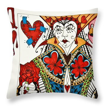 Throw Pillow featuring the drawing Queen Of Hearts - Wip by Jani Freimann