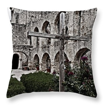 Queen Of Missions Rose Garden Throw Pillow by Andy Crawford