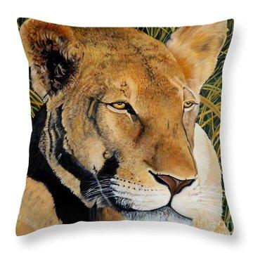 Queen Of The African Savannah Throw Pillow by Caroline Street