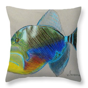 Queen Triggerfish Throw Pillow by Savanna Paine