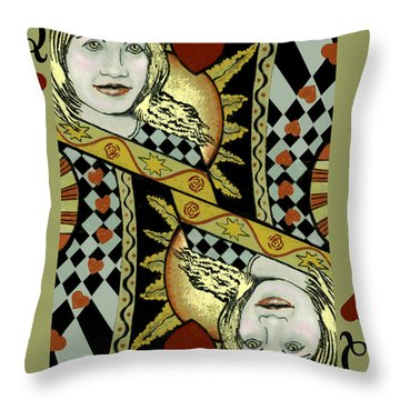 Queen's Card II Throw Pillow by Carol Jacobs