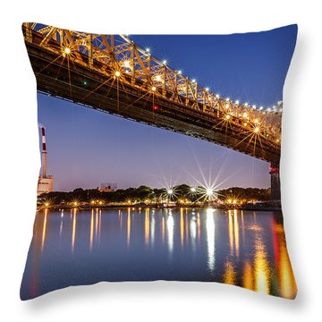 Queensboro Bridge Throw Pillow by Mihai Andritoiu