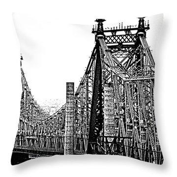Queensborough Or 59th Street Bridge Throw Pillow