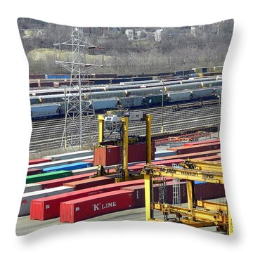 Throw Pillow featuring the photograph Queensgate Yard Cincinnati Ohio by Kathy Barney