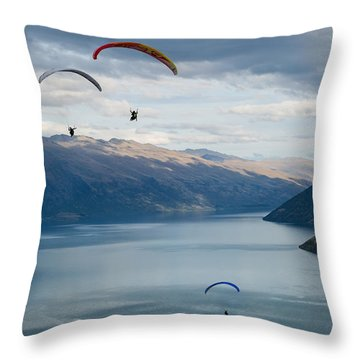 Queenstown Paragliders Throw Pillow