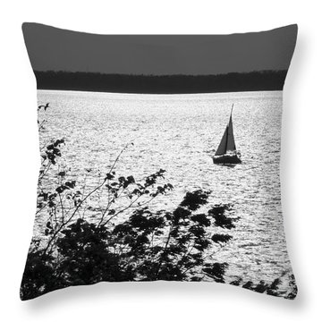 Throw Pillow featuring the photograph Quick Silver - Sailboat On Lake Barkley by Jane Eleanor Nicholas