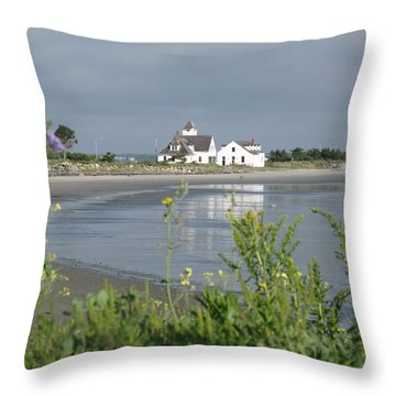 Quiet Beach Nahant Throw Pillow by Barbara McDevitt