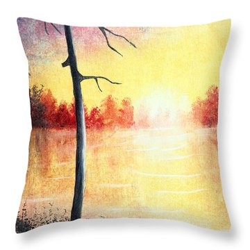 Quiet Evening By The River Throw Pillow by Nirdesha Munasinghe