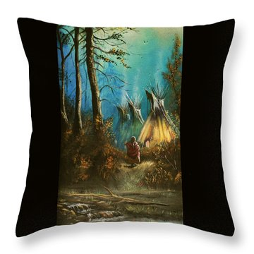 Quiet Forest With Tepees Blank Throw Pillow