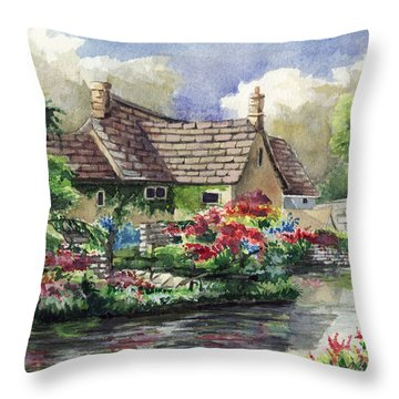 Quiet House Along The River Throw Pillow