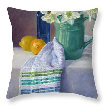 Quiet Moment- Daffodils In A Blue Green Pitcher With Lemons Throw Pillow