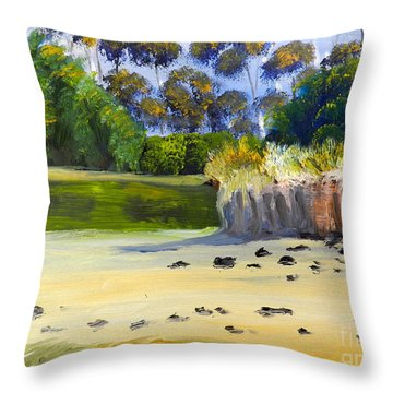 Quiet Sand By The Creek Throw Pillow