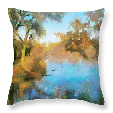 Throw Pillow featuring the painting Quiet Spot By The Lake by Wayne Pascall