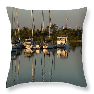 Quiet Summer Afternoon - Sailboats And Downtown Skyline Throw Pillow by Georgia Mizuleva