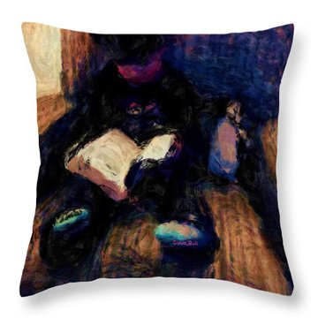 Quiet Time Throw Pillow by Claire Bull