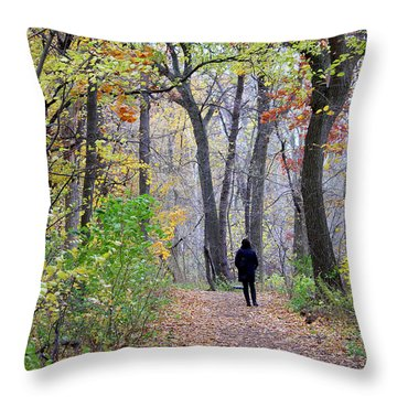 Quiet Walk In The Woods Throw Pillow