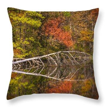 Quiet Waters In Autumn Throw Pillow by Debra and Dave Vanderlaan