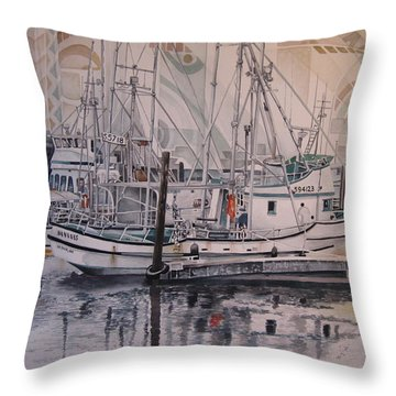 Quileute Marina - Bananas Throw Pillow by Lance Wurst
