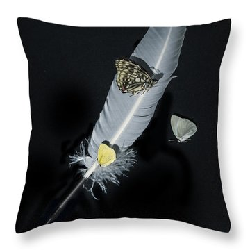 Quill With Butterflies Throw Pillow by Joana Kruse
