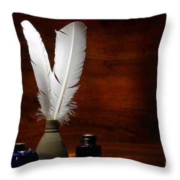 Quills And Inkwells Throw Pillow by Olivier Le Queinec
