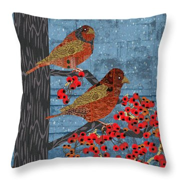 Sage Brush Sparrow In Rain Throw Pillow by Kim Prowse