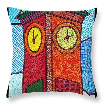 Quilted Clock Tower Throw Pillow by Jim Harris