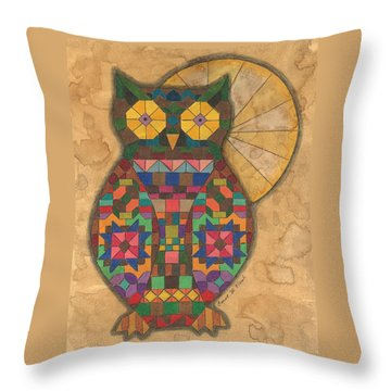 Quilted Owl Throw Pillow
