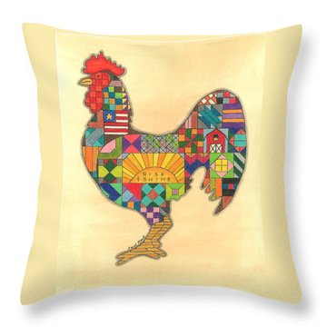 Quilted Rooster Throw Pillow