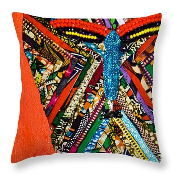 Quilted Warrior Throw Pillow by Apanaki Temitayo M