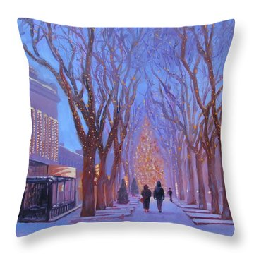 Quincy Market At Twilight Throw Pillow by Laura Lee Zanghetti