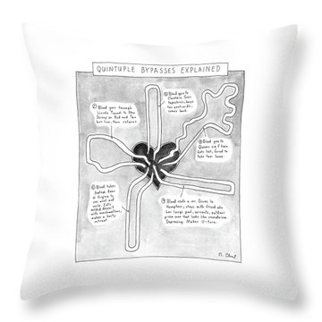 Quintuple Bypasses Explained Throw Pillow