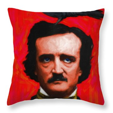 Quoth The Raven Nevermore - Edgar Allan Poe - Painterly - Red - Standard Size Throw Pillow