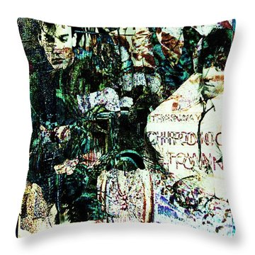R E M / Exit Chronic Town Throw Pillow by Elizabeth McTaggart
