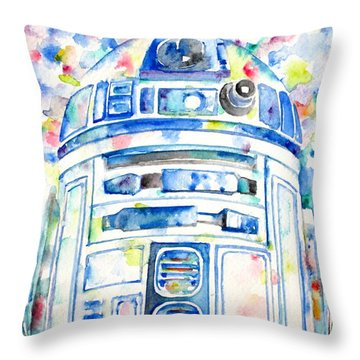R2-d2 Watercolor Portrait.1 Throw Pillow