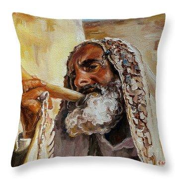 Rabbi Blowing Shofar Throw Pillow
