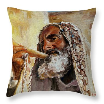 Rabbi Blowing Shofar Throw Pillow