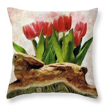 Rabbit And Pink Tulips Throw Pillow