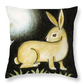 Rabbit And The Butterfly . . . From The Tapestry Series Throw Pillow