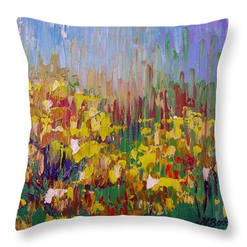 Rabbit Brush Abstracted Throw Pillow by Margaret Bobb
