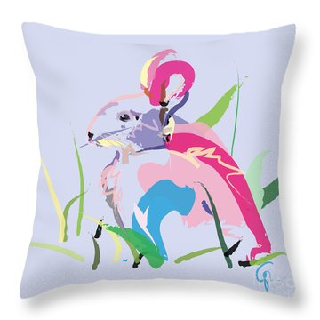 Rabbit - Bunny In Color Throw Pillow