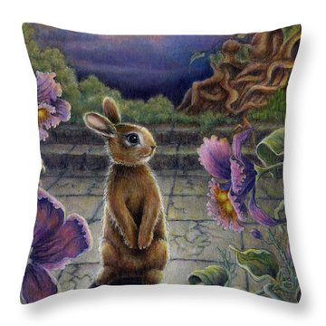 Rabbit Dreams Throw Pillow by Retta Stephenson