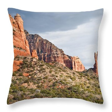 Throw Pillow featuring the photograph Rabbit Ears Spire At Sunset by Jeff Goulden